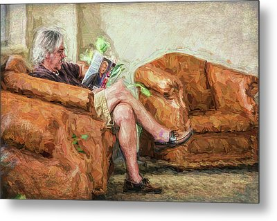 Metal Print featuring the photograph Reading At The Library by Lewis Mann