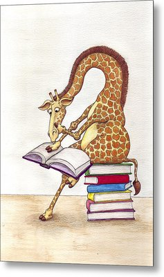 Reading Giraffe Metal Print by Julia Collard