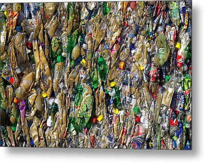 Recycled Plastic Bottles Metal Print by David Buffington