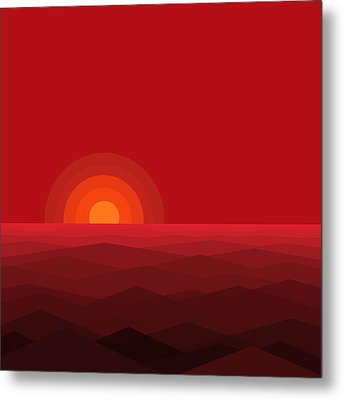 Red Abstract Sunset II Metal Print by Val Arie