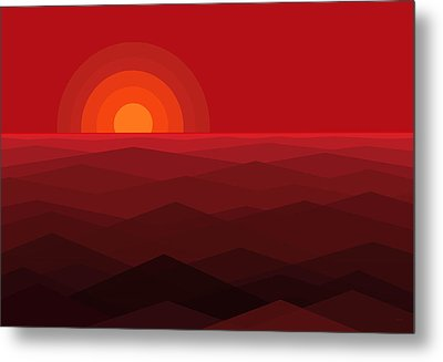 Red Abstract Sunset Metal Print by Val Arie
