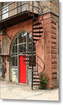 Red Alley Door Metal Print