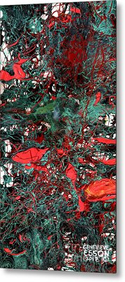 Metal Print featuring the painting Red And Black Turquoise Drip Abstract by Genevieve Esson
