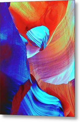 Red And Blue Abstract Swirls Metal Print by Marcia Socolik