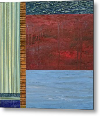 Red And Blue Study Metal Print by Michelle Calkins
