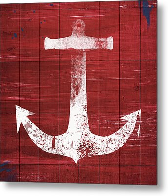 Red And White Anchor- Art By Linda Woods Metal Print by Linda Woods