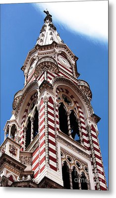 Red And White Church In Bogota Metal Print by John Rizzuto