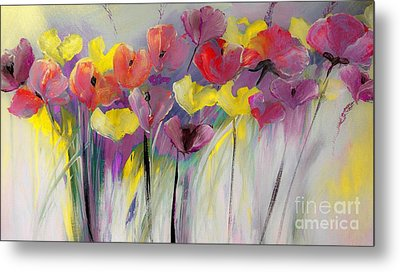 Red And Yellow Floral Field Painting Metal Print by Lisa Kaiser