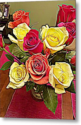 Red And Yellow Rose Bouquet Metal Print