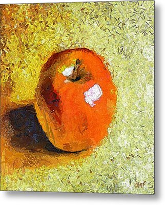 Metal Print featuring the painting Red Apple by Dragica  Micki Fortuna
