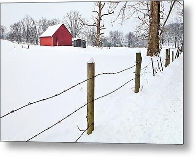 Red Barn And Fresh Snow - D006392a Metal Print by Daniel Dempster