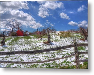 Red Barn In Snow - New Hampshire Metal Print by Joann Vitali