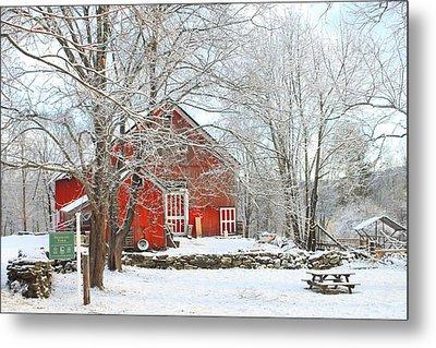 Red Barn In Winter Metal Print by John Burk