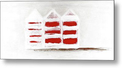Metal Print featuring the painting Red Beach Huts by Frank Tschakert