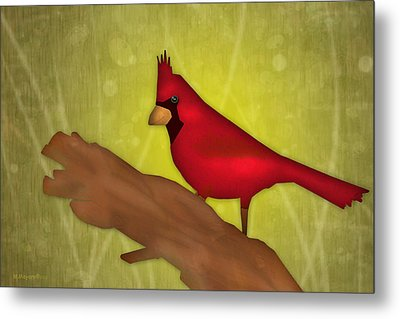 Red Bird Metal Print by Melisa Meyers