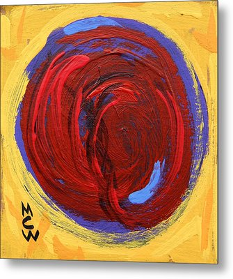 Metal Print featuring the painting Red Blue Moon On Yellow by Mary Carol Williams
