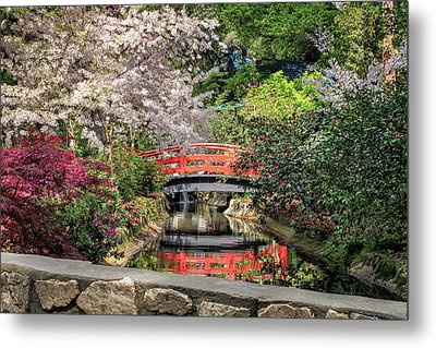 Metal Print featuring the photograph Red Bridge Spring Reflection by James Eddy