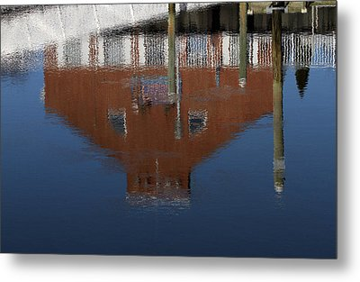 Red Building Reflection Metal Print by Karol Livote