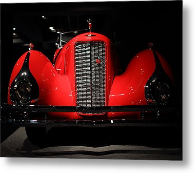 Red Cadillac Metal Print by Transportation Photographs