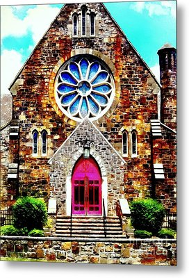 Red Church Door Bethlehem Pa Metal Print by Janine Riley
