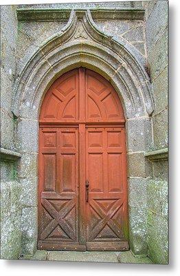Red Church Door IIi Metal Print by Helen Northcott
