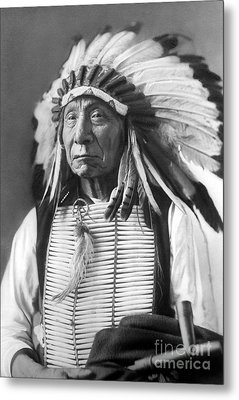 Red Cloud, Dakota Chief, Wearing A Headdress, 1880s Metal Print