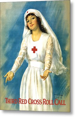 Red Cross Nurse - Ww1 Metal Print by War Is Hell Store