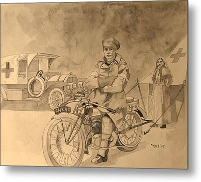 Metal Print featuring the painting Red Cross by Ray Agius