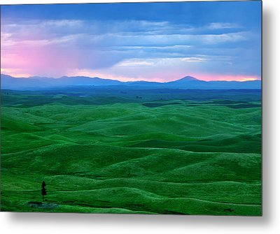 Red Dawn Over The Palouse Metal Print by Mike  Dawson
