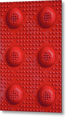 Red Dots Industrial Portrait Metal Print