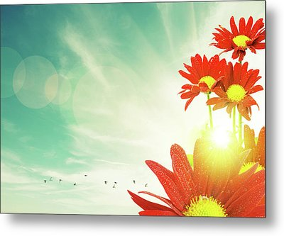 Metal Print featuring the photograph Red Flowers Spring by Carlos Caetano
