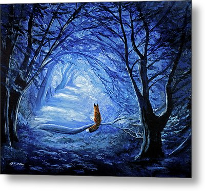 Red Fox In Blue Cypress Grove Metal Print by Laura Iverson