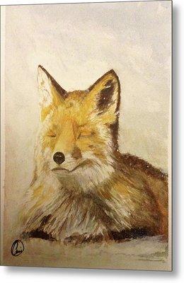 Red Fox Rest Metal Print