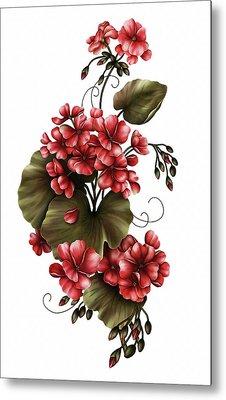 Red Geraniums On White Metal Print by Georgiana Romanovna