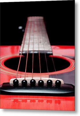 Red Guitar 16 Metal Print by Andee Design