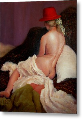 Metal Print featuring the painting Red Hat 5 by Donelli  DiMaria