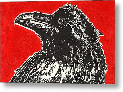 Red Hot Raven Metal Print by Julia Forsyth
