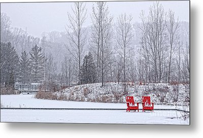 Red In Snow Metal Print by Charline Xia