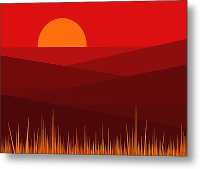 Red Landscape Metal Print by Val Arie