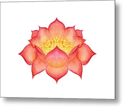 Metal Print featuring the painting Red Lotus by Elizabeth Lock