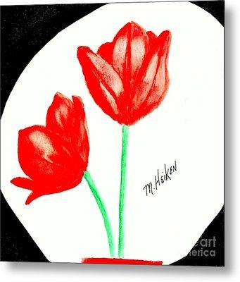 Red Painted Tulips Metal Print