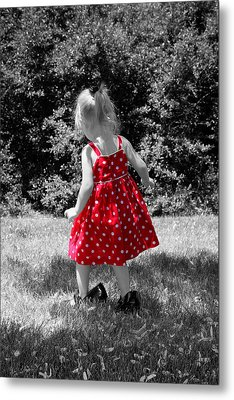 Red Polka Dot Dress And Mommy's Shoes Metal Print
