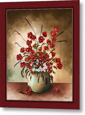 Metal Print featuring the digital art Red Poppies by Susan Kinney