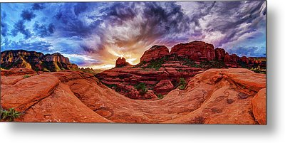 Red Rock Storm Metal Print by ABeautifulSky Photography