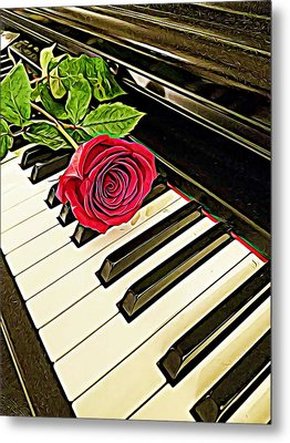Red Rose On A Piano  Metal Print