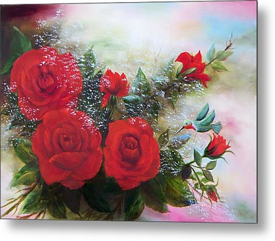 Metal Print featuring the painting Red Roses by Joni McPherson