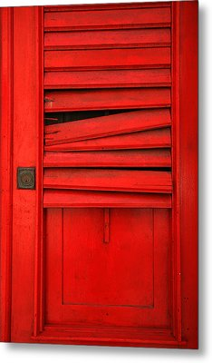 Red Shutter Metal Print by Timothy Johnson