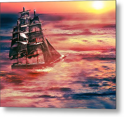 Red Sky In The Morning.... Sailors Take Warning Metal Print by Gray  Artus