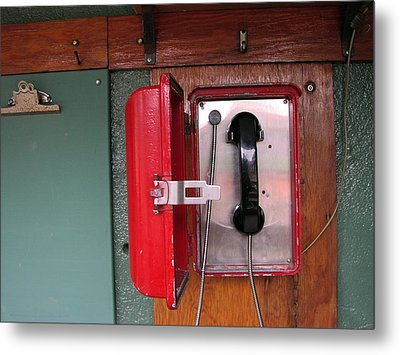 Red Sox Dugout Phone Metal Print by Mike Martin