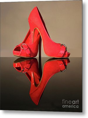 Metal Print featuring the photograph Red Stiletto Shoes by Terri Waters
